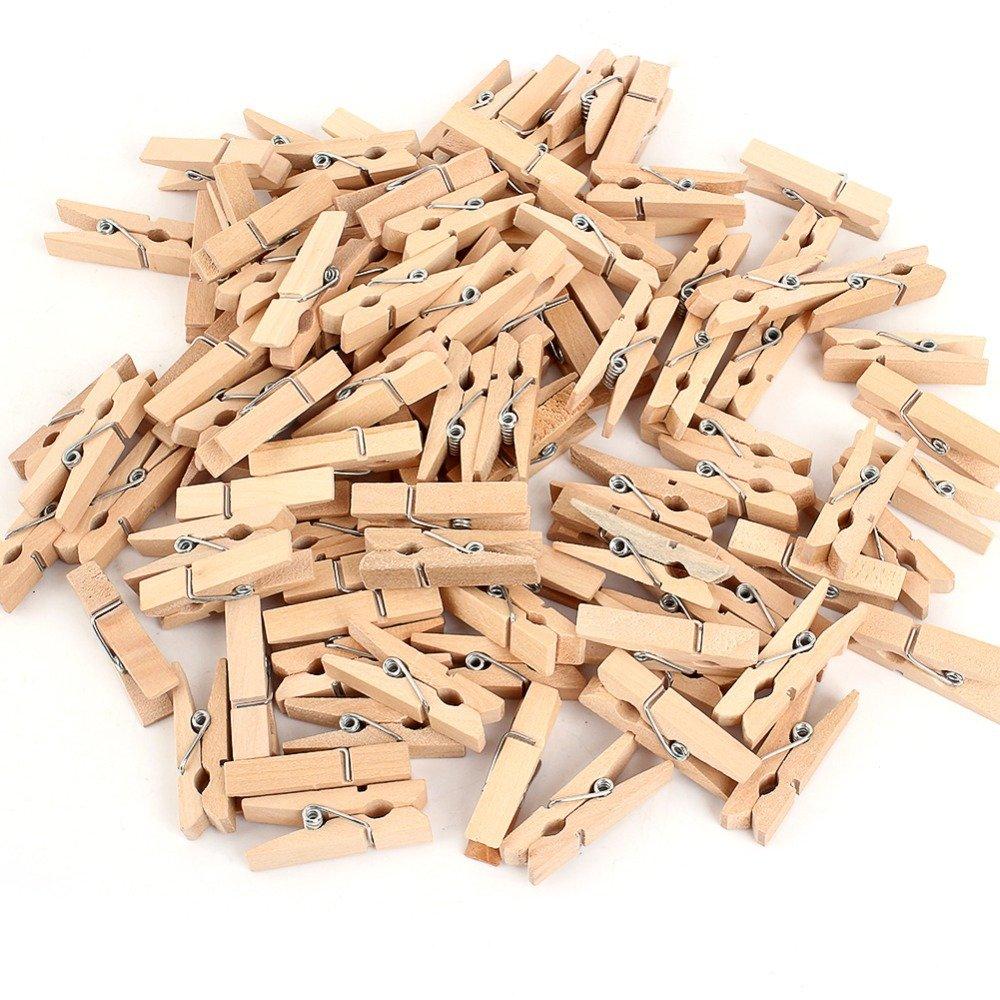 200 Natural Wooden Mini Pegs Crafts Weddings Parties Baby Showers 1 Inch Kids B Crafty