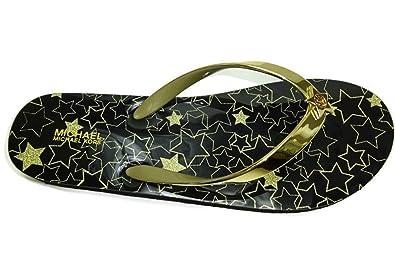 048ff7590e721f Michael Kors Star FLIP Flop Shiny Metallic PVC Glitter 8M 9M Black Goldtone  Nib