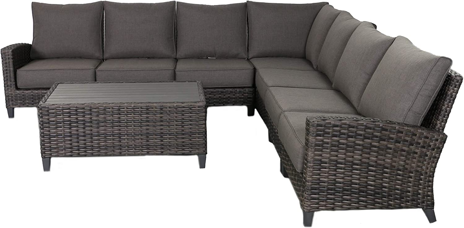 Envelor Barbados 7-Piece Sectional Set Outdoor Patio Furniture Rattan Wicker Frame Includes Grey Olefin Cushions