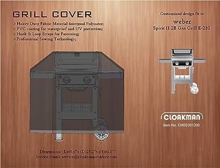 Amazon Com Cloakman Premium Heavy Duty Grill Cover Fits Weber Spirit Ii E200 Series 2b Grill E210 7138 Garden Outdoor