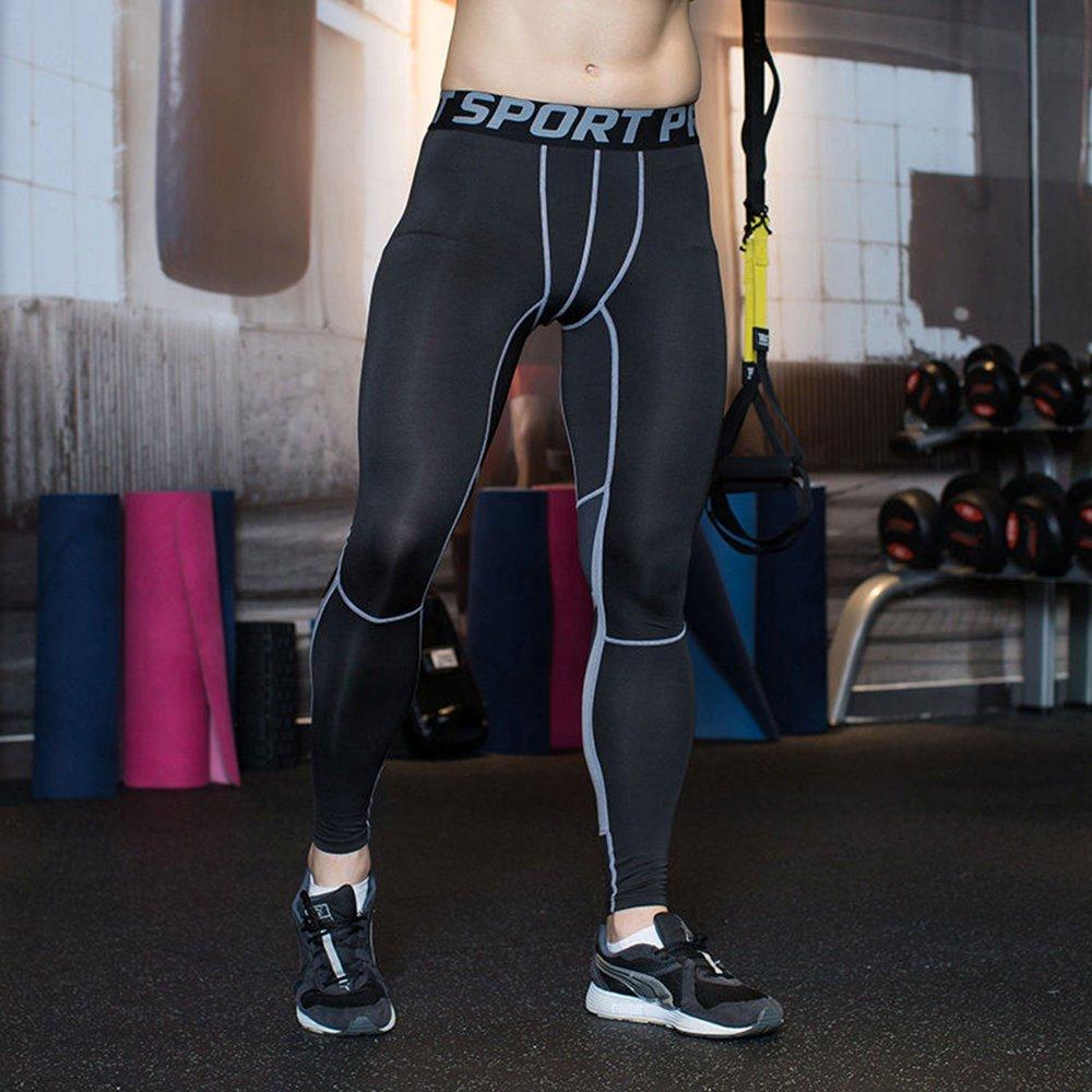UrChoiceLtd®GYM QX Pantaloni Correnti Degli Uomini Per I Vestiti Di Allenamento Di Usura Di Compressione Uomini Essiccazione Base Confortevole E Traspirante Per Le Ghette Di Fitness Elite Caldo Wow (L, Verde) QiangXing - QX