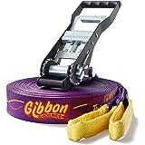 Gibbon Slacklines Surfer Line, Purple, 30 meters, 27.5m Band + 2.5 Ratchet Tape, Jumpline, Trickline, Advanced, including ratchet restraint, 50mm wide, perfect leisure sport