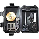 10 in 1 Emergency Survival Kit Briefcase EDC Outdoor Survival Kit Emergency Tool with Fire Starter Saber Card Flashlight Whistle etc by Boshiho