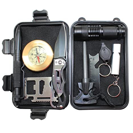 4d2afcb7fe8 Image Unavailable. Image not available for. Color  boshiho 10 in 1  Emergency Survival Kit Briefcase EDC Outdoor ...