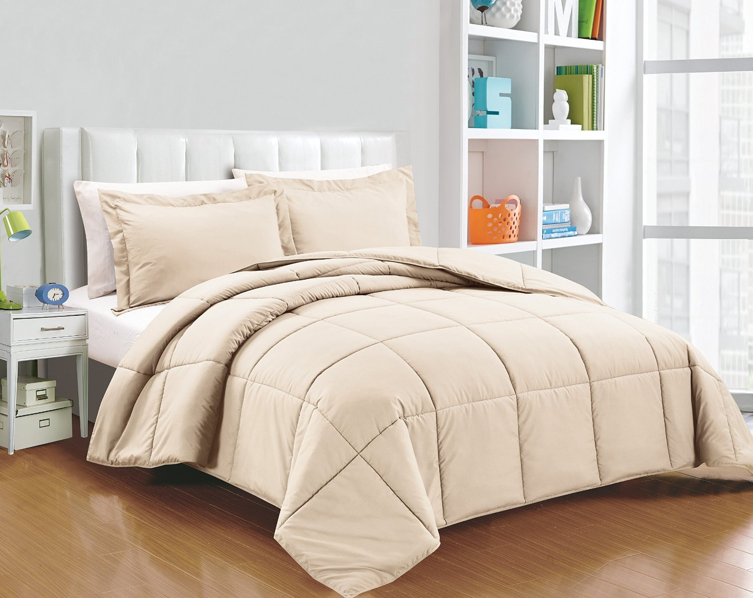 Chezmoi Collection 3-piece Down Alternative Comforter Set Queen, Khaki)