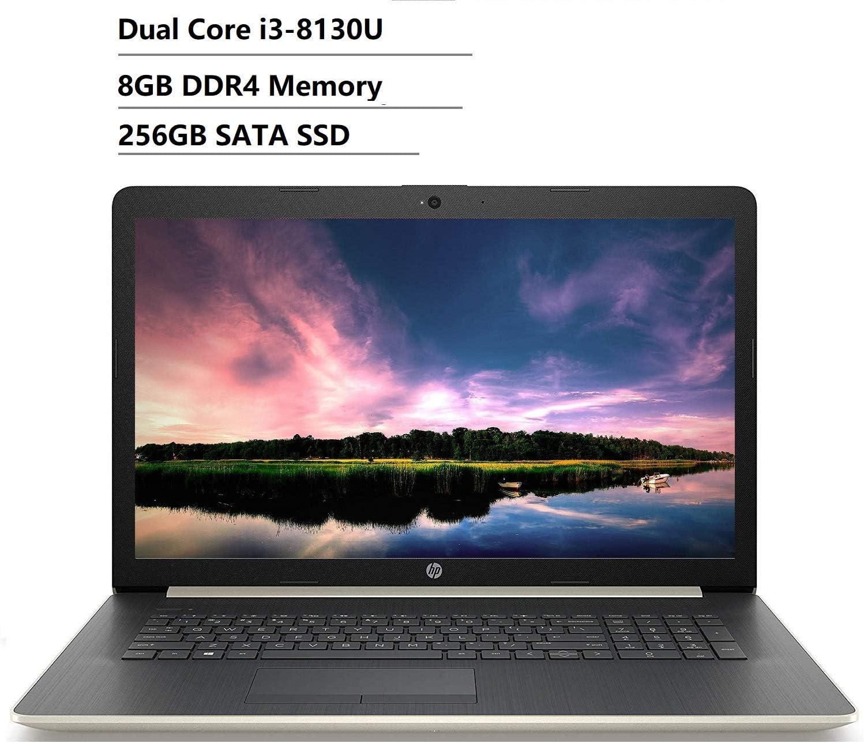 2019 HP 17 17.3 Inch HD+ Business Laptop (8th Intel Dual Core i3-8130U (Beat i5-7200U) 8GB DDR4 RAM, 256GB SSD) DVD-RW, Ethernet, HDMI, 802.11 AC WiFi, Bluetooth, Ethernet, Gold, Windows 10 64-bit