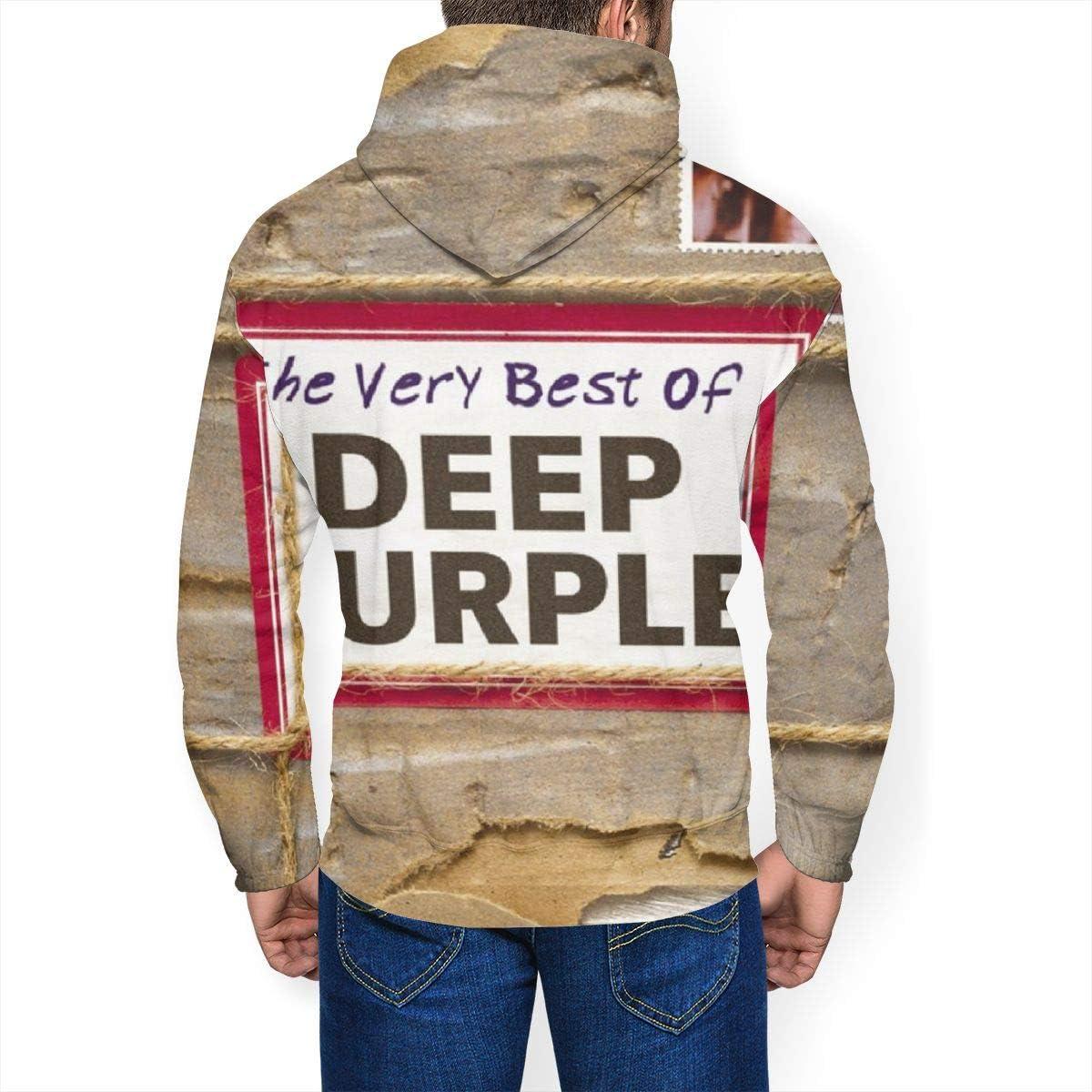 The Very Best of Deep Purple Mens Long Sleeve Personality Jacket Hoodie Sweatshirt Plus Velvet Black