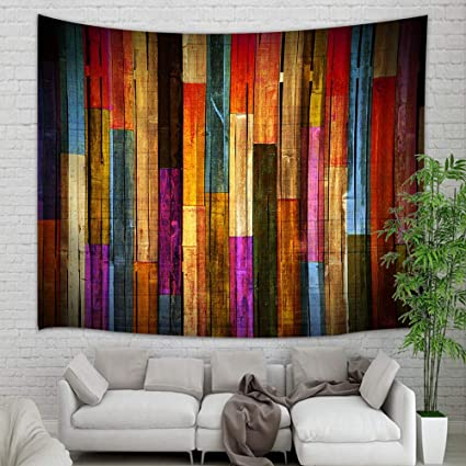 Colorful Wooden Wallpaper Tapestry Wall Hanging Grunge Rustic Planks Barn House Wood Art Print Wall Tapestry Art For Home Decorations College Dorm