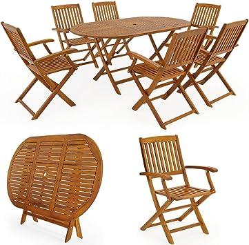 Deuba | Ensemble de Jardin 6+1 • en Bois d\'acacia certifié FSC® • Boston •  1 Table et 6 chaises Pliables | Salon de Jardin