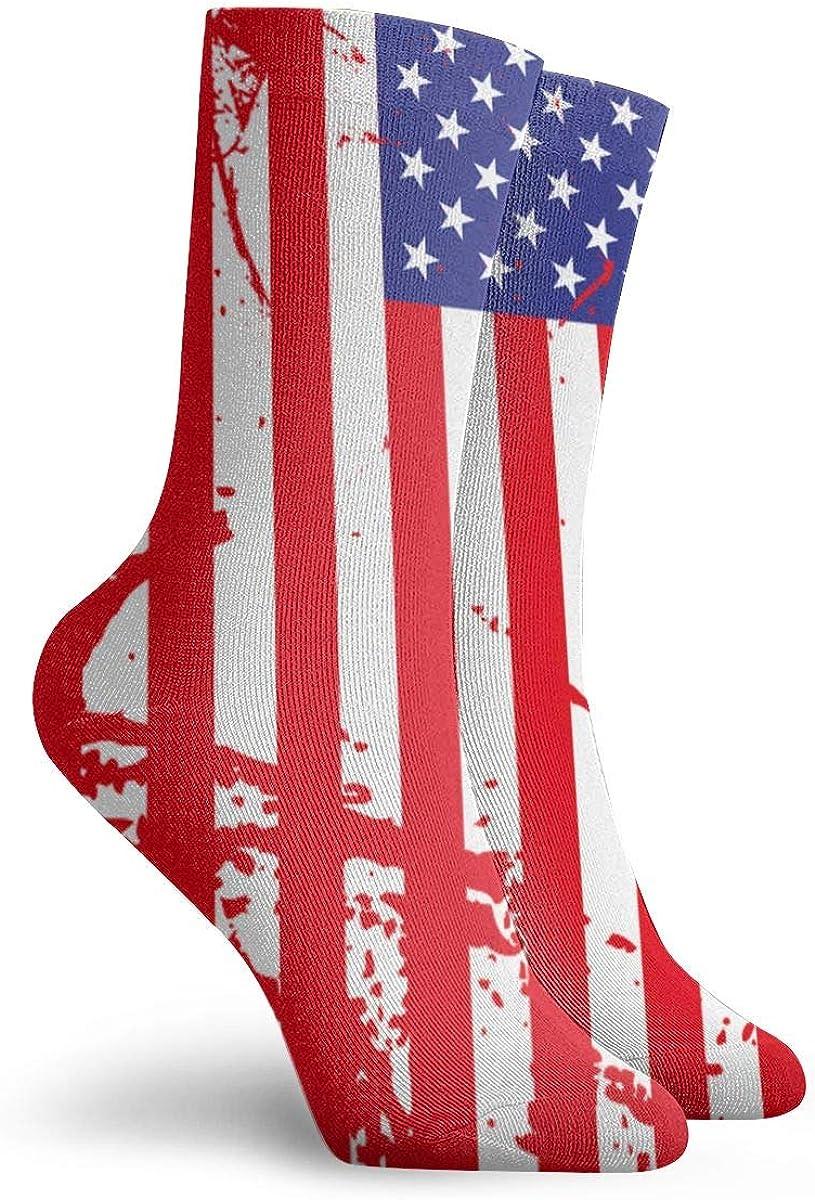 SESY Vintage American Flag Unisex Crew Socks Short Sports Stocking