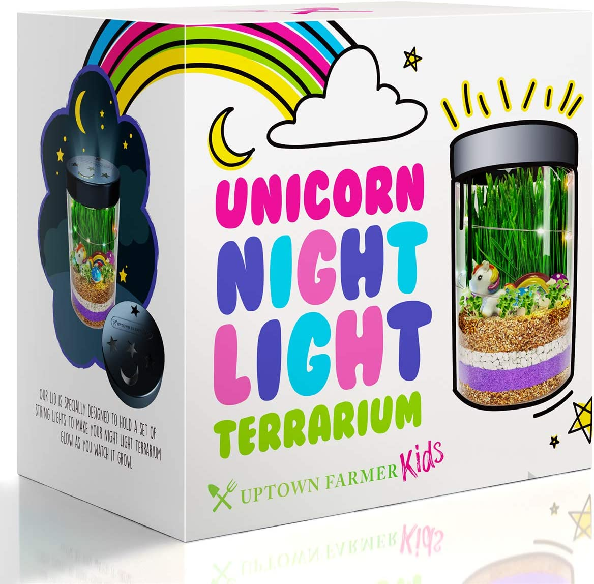 Unicorn Terrarium Kit for Kids – Girls or Boys Science Kits Stem Gifts with Night Light - DIY Craft Educational Garden Discovery Art for Age 4-12