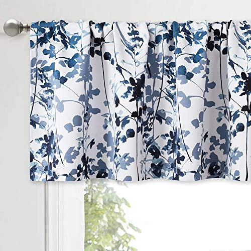 KGORGE Farmhouse Valances for Kitchen Windows – Small Curtains Botanical Printed Pattern Small Window Decor for Cafe Tier Bedroom Bathroom, 1 Pair, 52 inches Wide x 18 inches Long, Blue