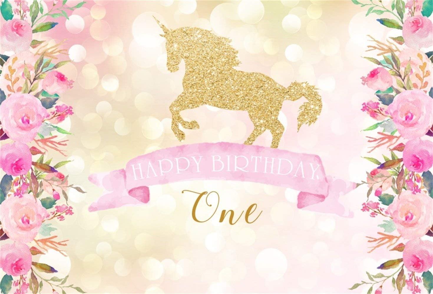 Happy 1st Birthday Unicorn Backdrop 5x3ft Polyester Golden Glitter Unicorn Dreamlike Bokeh Haloes Photography Background Pink Flower Edges Kids Child Baby Shoot Birthday Party Banner Cake Smash