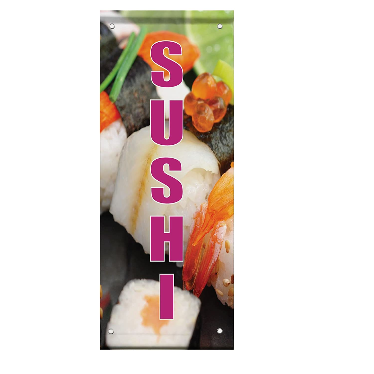 Sushi Double Sided Vertical Pole Banner Sign 18 in x 26 in Fastasticdeals