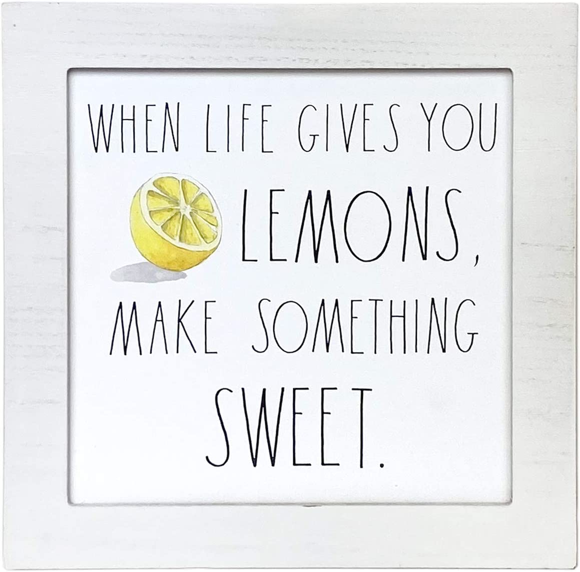 Rae Dunn - White Wall Plaque 'When Life Gives You Lemons' – Home, Office Decor - Cute Inspirational Messages, Quotes – Natural Wood Frame - Rustic, Country, Farmhouse, Wooden, Vintage Design Style