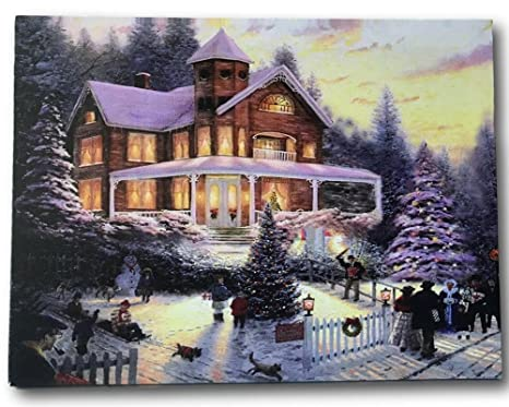 Christmas Led Canvas.Banberry Designs Christmas Led Canvas Print Winter Scene Wall Art With A Victorian House In A Snowy Setting Christmas Lights In The Trees Light Up