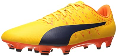 Puma Men s evoPOWER Vigor 4 FG Soccer Shoe Ultra Yellow Peacoat Orange Clown Fish 12.5 M US