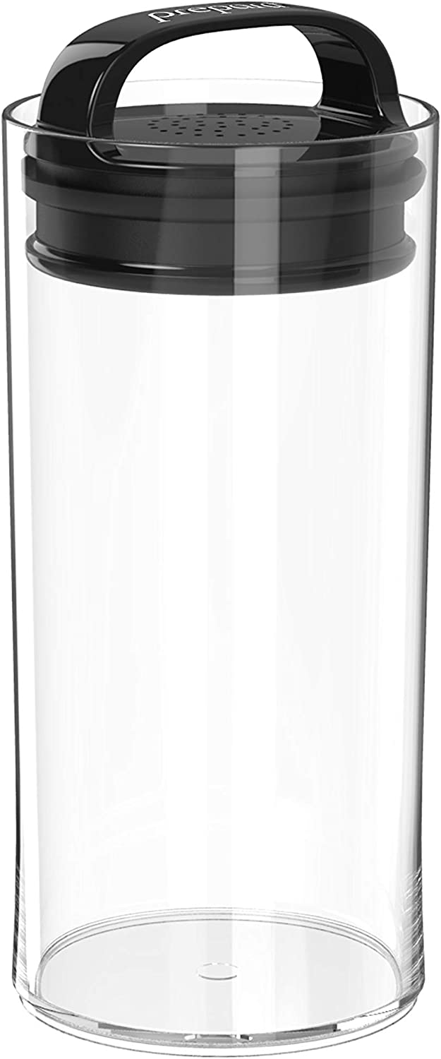 Prepara Evak Fresh Saver, Small-Tall Airless Canister with Black handle, 1.05 Quart, Clear