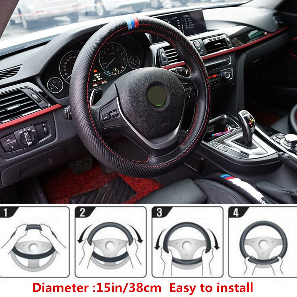Car Steering Wheel Covers Black Carbon Fiber Great 3 Leather Strips Fit Most Car 15In Steering Wheel Jianna Store