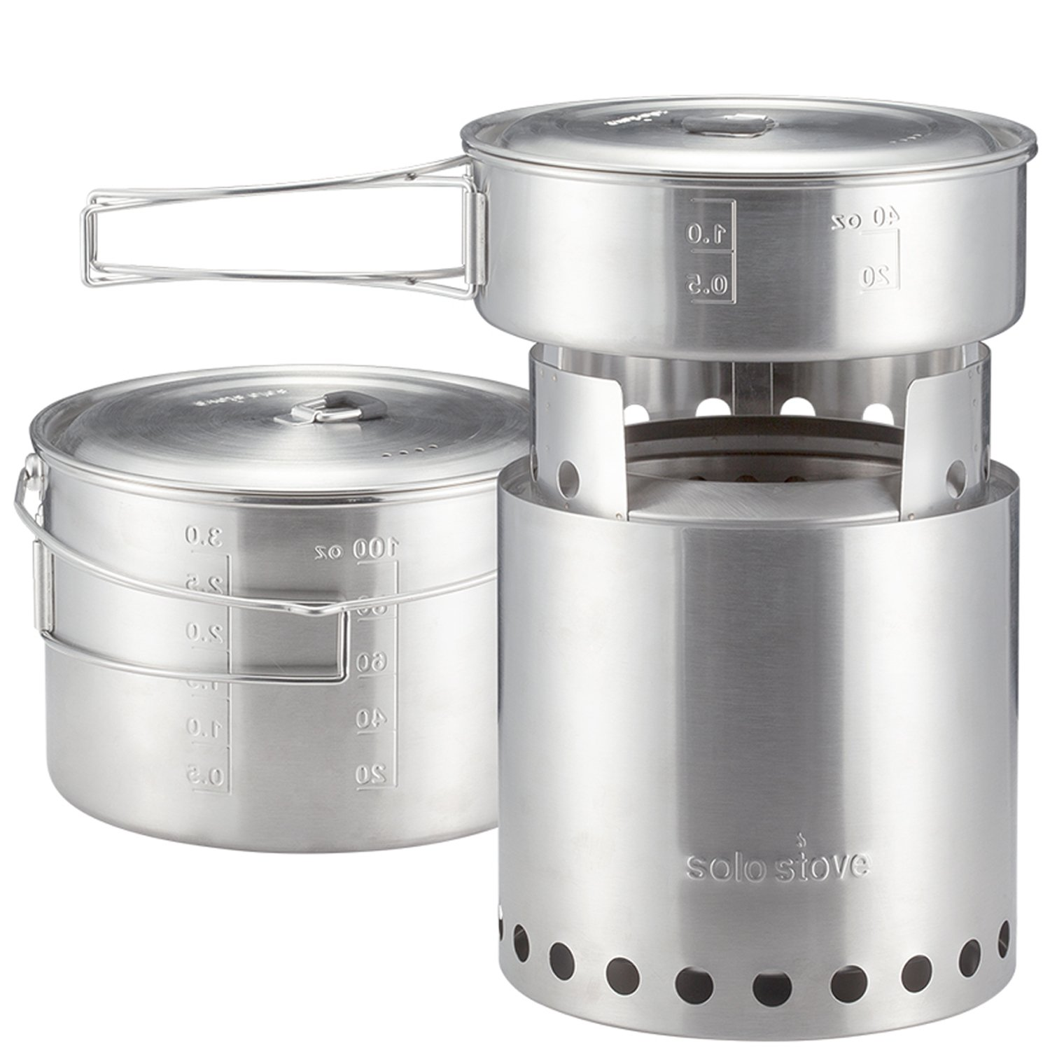 Amazon.com : Solo Stove Campfire U0026 2 Pot Set Combo: 4+ Person Wood Burning  Camping Stove. Outdoor Kitchen Kit For Backpacking, Camping, Survival.