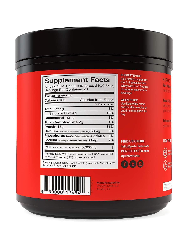 Pure Vanilla Whey Protein Powder Isolate by Perfect Keto | Delicious 100% Grass Fed Whey | All Natural | No Artificials, Gluten Free, Soy Free, Non-GMO