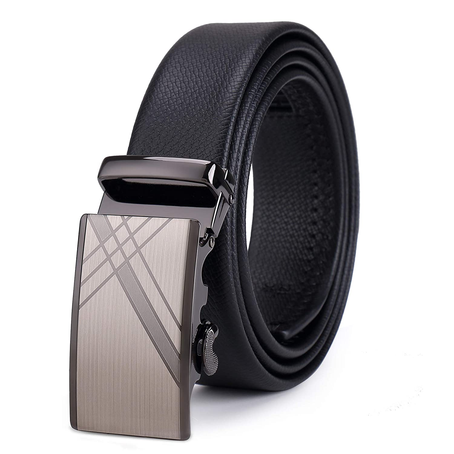 Ottboom Mens Leather Ratchet Dress Belt with Automatic Buckle icluding a Gift Box