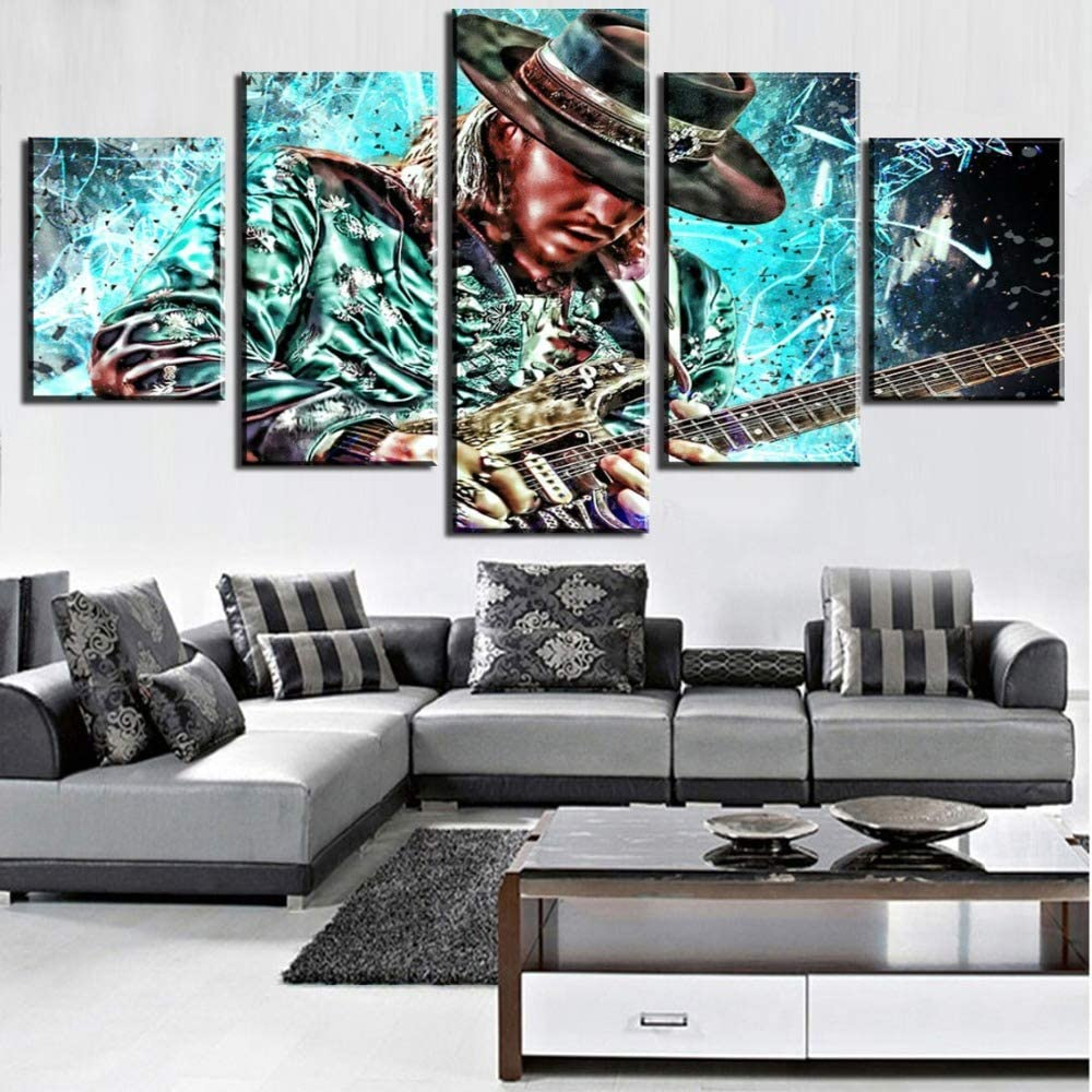 JSBVM HD Printed 5 Panel Guitar Master Stevie Ray Vaughan Painting Canvas Wall Art Picture Home Decoration Living Room