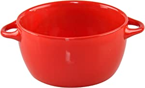 """HOME-X Soup Bowl with Handles, Red Ceramic Bowl, Microwaveable Serving Bowl, 26 Ounces, 8"""" L x 5 3/4"""" W x 3"""" H, Red"""