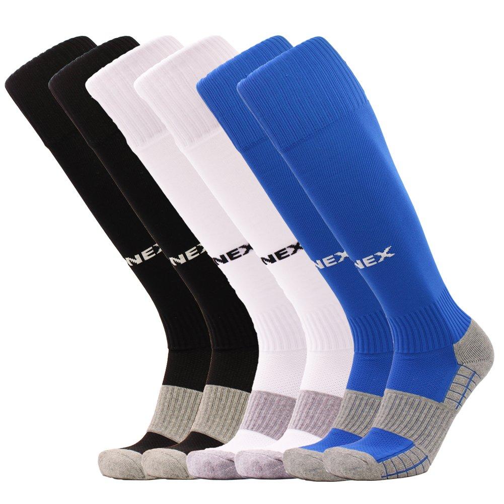 FONEX SOCKSHOSIERY メンズ B074Z5B4NJ 3 Pairs Black+white+blue 3 Pairs Black+white+blue