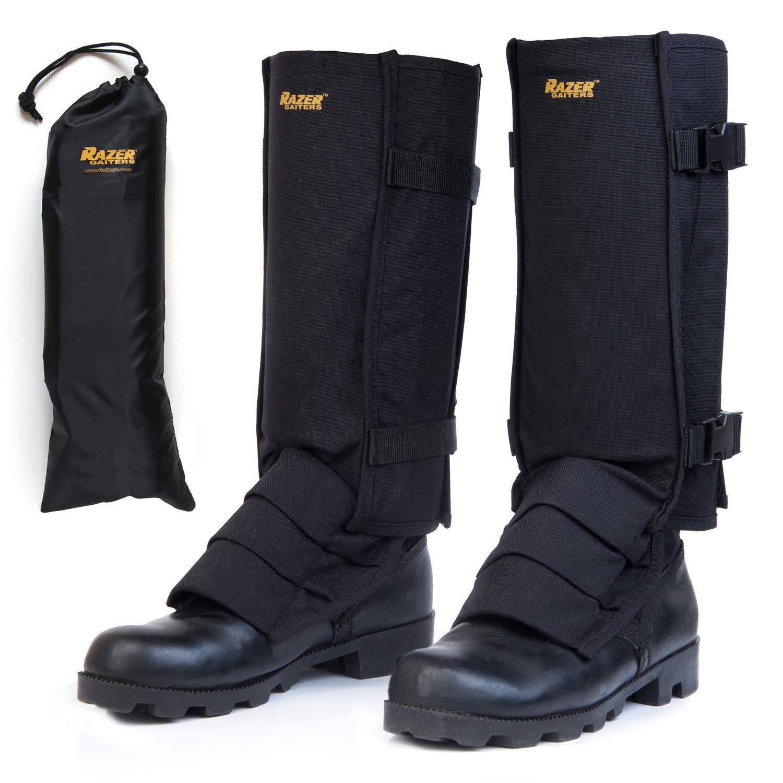 Razer Gaiters Snake Gaiters with Storage Bag - Snake Protection Gaiter for Lower Legs (Black)