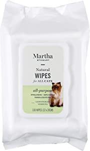 Martha Stewart Wipes for Dogs & Cats | Effectively Removes Dirt & Odors |Pet Wipes For Cats and Dogs, Made with Natural Ingredients | 100% Safe for Pets