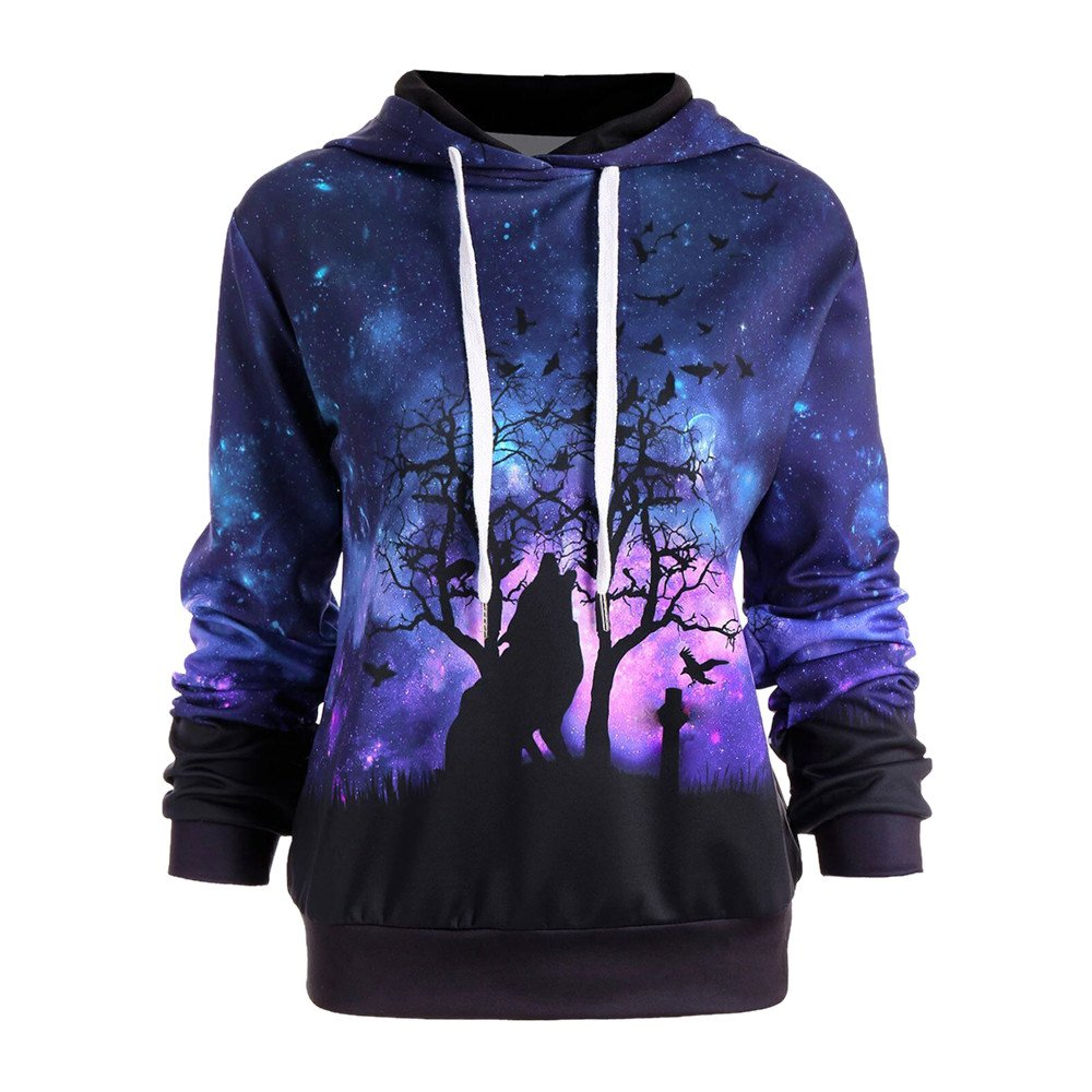 Women Hoodies, Hevoiok Fashion 3D Starry Sky and Wolf Print Long Sleeve Sweatshirt Pullover Tops
