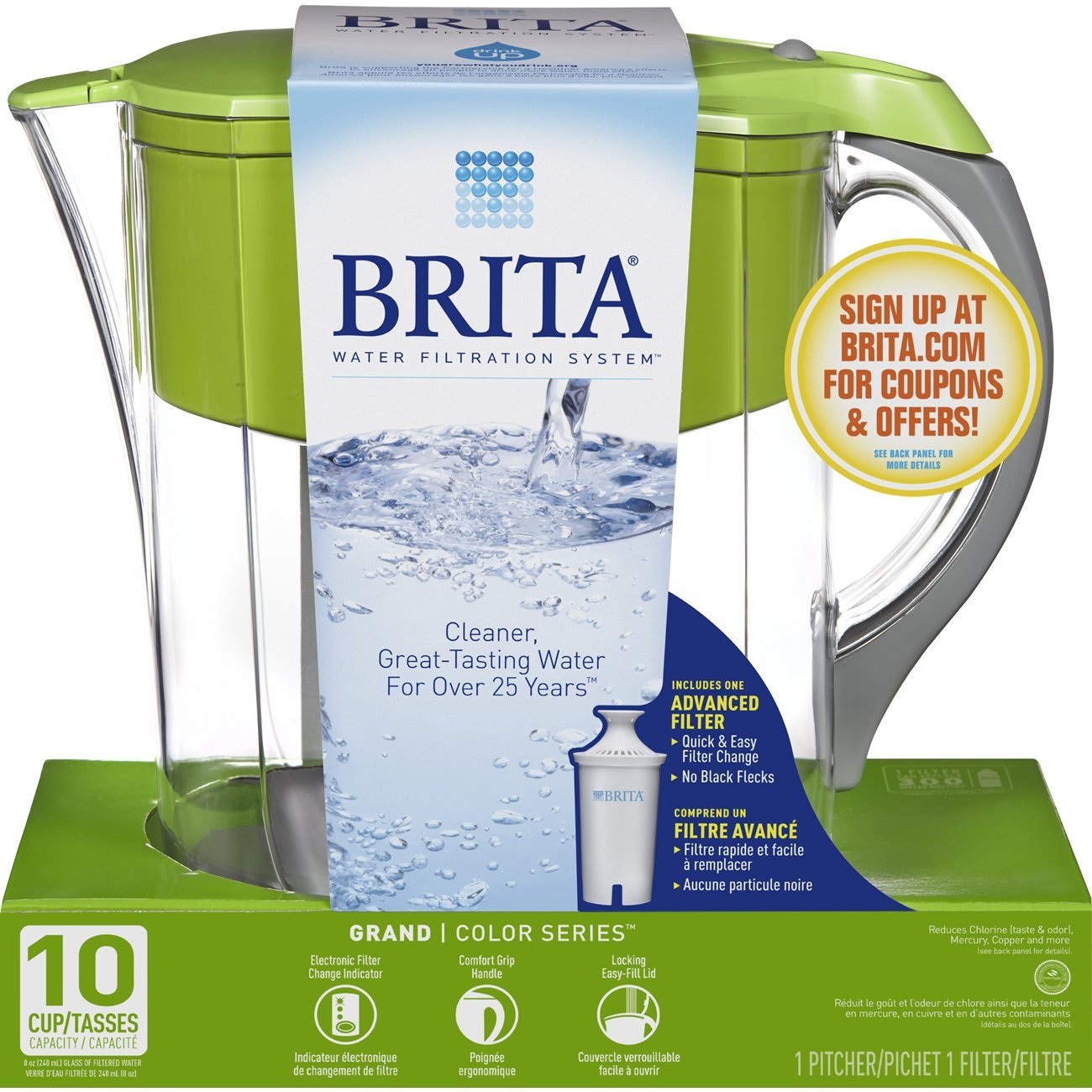 Brita Large 10 Cup Water Filter Pitcher with 1 Standard Filter, BPA Free – Grand, Multiple Colors by Brita (Image #8)
