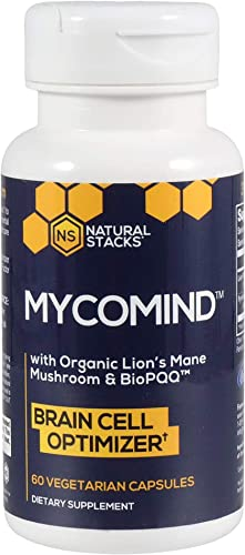 Natural Stacks – Mycomind – Lions Mane Mushroom Nootropic 60 ct. – Mental Performance – Optimize Brain Cells – Antioxidant Boost – Lion s Mane Mushroom Extract for Mental Clarity – BioPQQ
