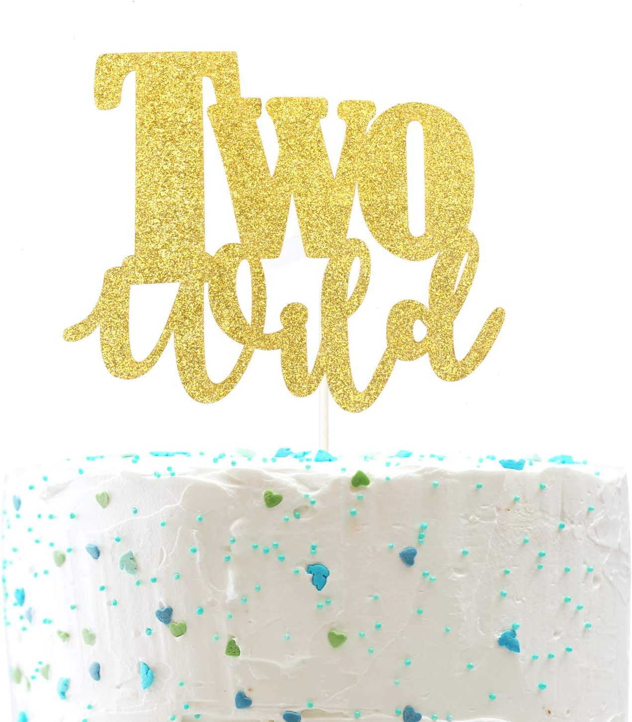 Two Wild Cake Topper Gold Glitter Two Wild Birthday Cake Topper for Baby 2nd Birthday Party Decorations