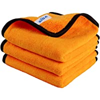 MR.SIGA Professional Premium Microfiber Towels for Household Cleaning, Dual-Sided Car Washing and Detailing Towels, Gold…