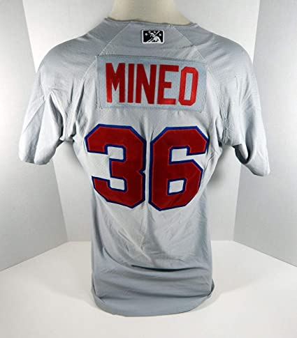 4caa2e85fe655 2018 Buffalo Bisons Alberto Mineo #36 Game Used Grey Jersey - Game ...