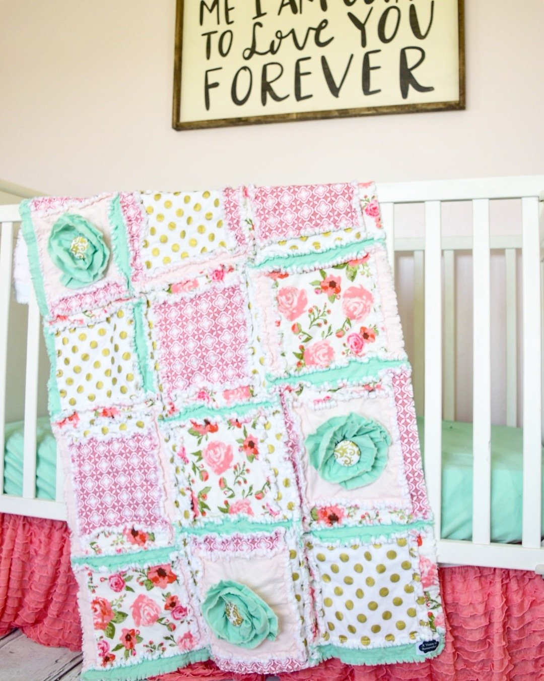 Floral Baby Girl Crib Set - Coral / Mint / Gold