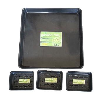 homeshop3000 - Bandejas de jardinería (4 Piezas, 3 bandejas para Semillas y 1 Bandeja Cuadrada para jardín): Amazon.es: Jardín