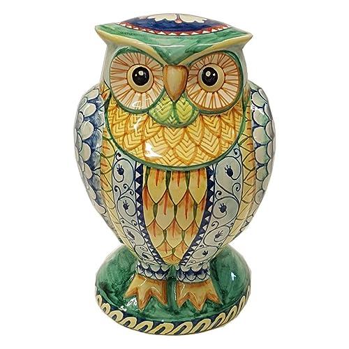 Big Owl Figurine Hand Painted Deruta Ceramic Art
