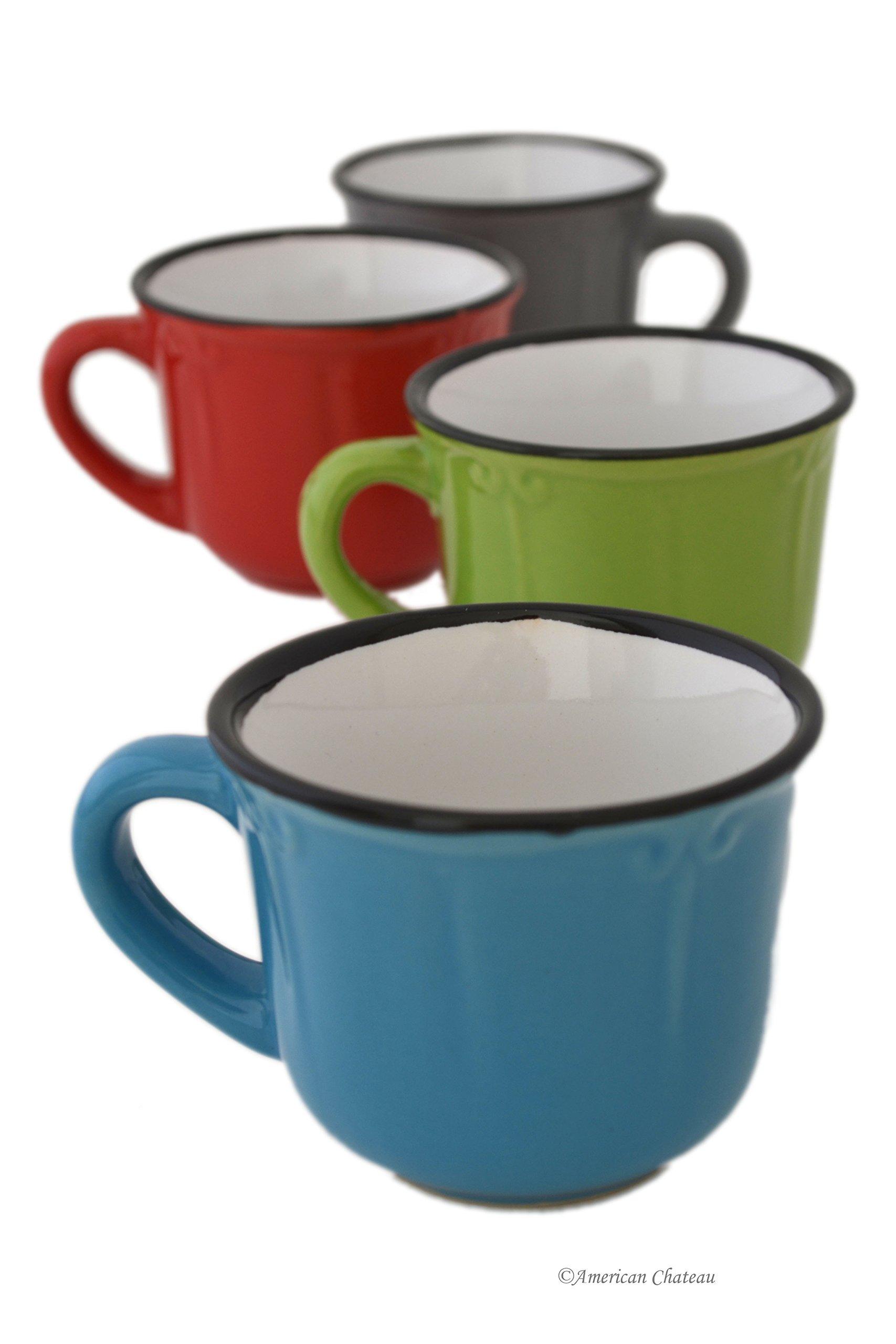 Set 4 Assorted Bright Colors Porcelain 2.5oz Demitasse Espresso Coffee Cups