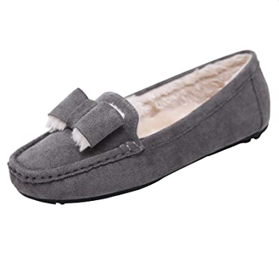 ZIP&HAP Women Winter Fur Moccasins Slip On Fluff Bow Loafers Shoes