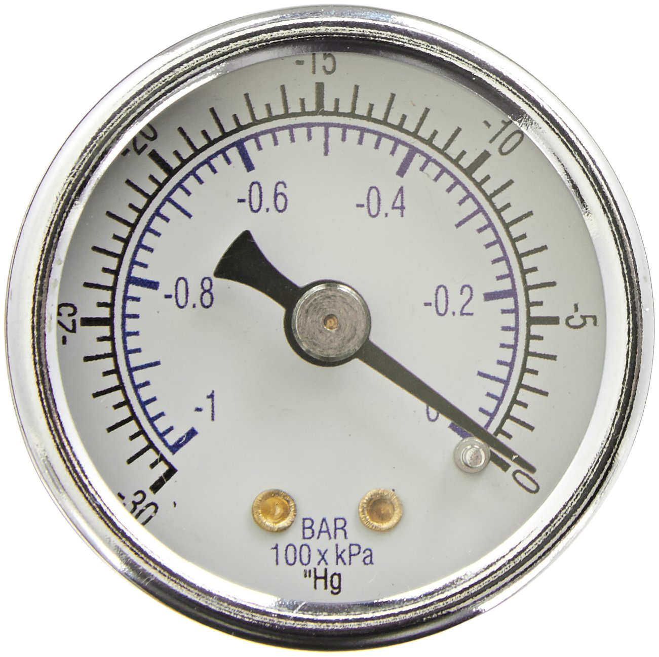"PIC Gauge 102D-158A 1.5"" Dial, 30""/0 hg Vacuum psi Range, 1/8"" Male NPT Connection Size, Center Back Mount Dry Pressure Gauge with a Black Steel Case, Brass Internals, Chrome Bezel, and Plastic Lens"