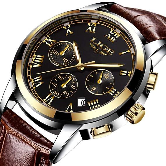 Relojes para Hombres Hombres Marca de Lujo Relojes Deportivos Reloj Impermeable con Fecha de Cuarzo: Amazon.es: Relojes