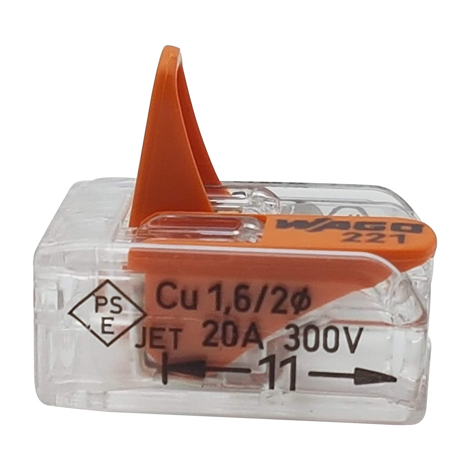 0.2-4 mm/² 200 pieces Wago 221-412 connection clamp 2 conductors with actuation lever transparent small design