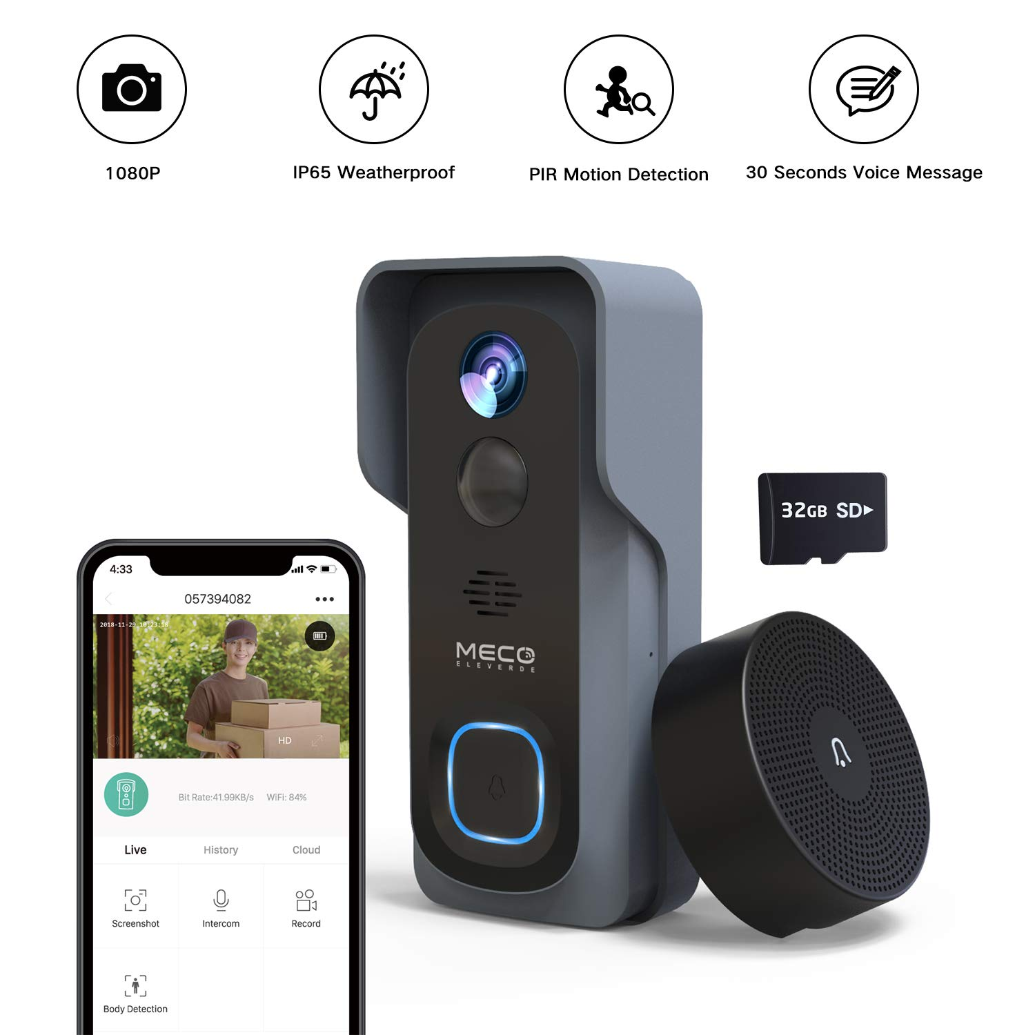 WiFi Video Doorbell,MECO 1080P Doorbell Camera with Ring Chime and 32GB SD Card, Wireless Doorbell with Motion Detector, Night Vision, IP65 Waterproof, Real-Time Notification, 2-Way Audio, 2.4GHz WiFi by MECO