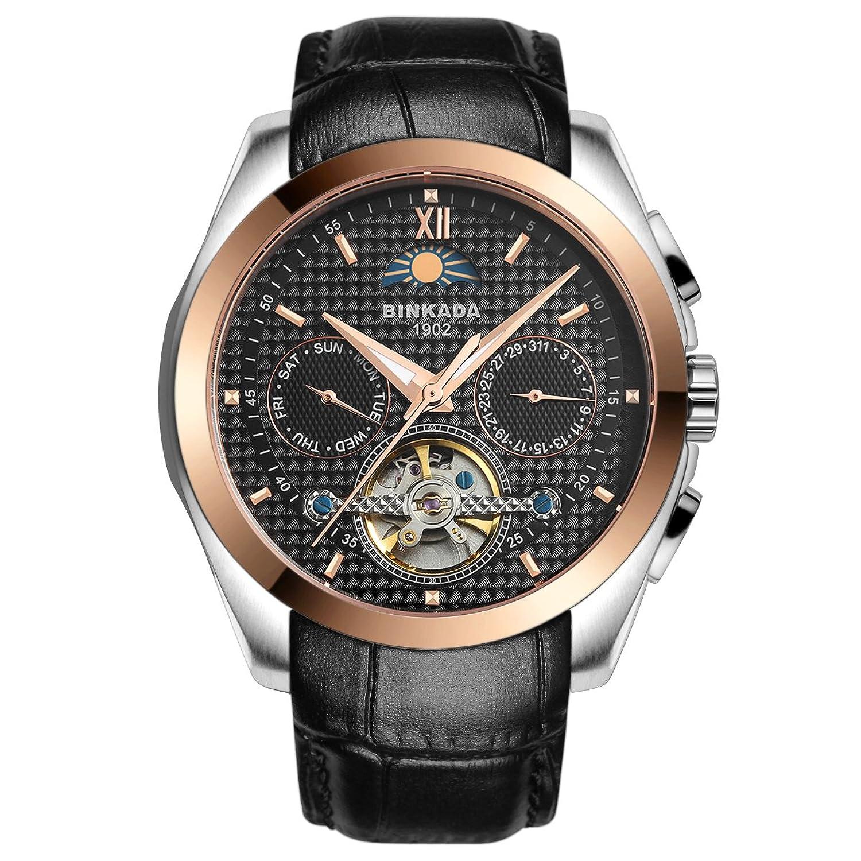 BINKADA 5ポインタ自動機械ビジネスカジュアルメンズ腕時計for Mens Wrist Watches Brown Band-Gold Black Dial B018M84VAGBrown Band-Gold Black Dial