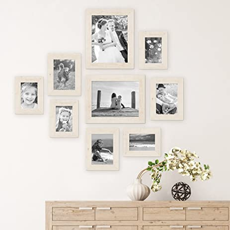 Amazon.com: Set of 9 Picture Frames, Beach-House Style, Rustic ...