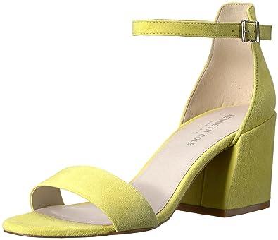 Kenneth Cole New York Women's Hannon Block Ankle Strap Heeled Sandal,  Lemon, ...