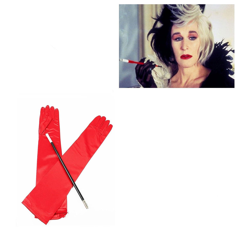 Henbrandt - Juego de guantes largos rojos y boquilla para cigarro: Amazon.es: Juguetes y juegos